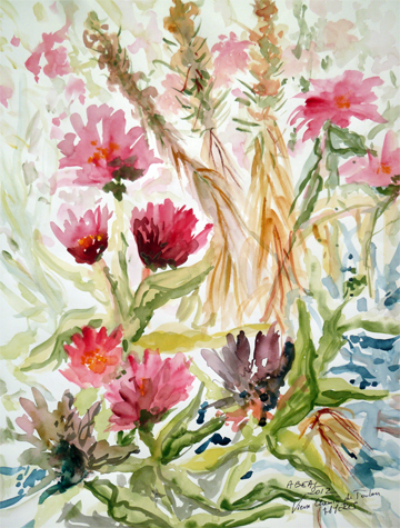 Fleurs au jardin. Aquarelle.Hyères. Arlette Béal. Tous droits réservés