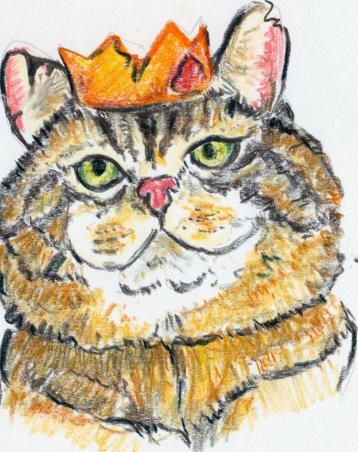 """Portrait du roi des chats gueux dans l'album """"La guerre des chats"""" de Arlette Béal"""