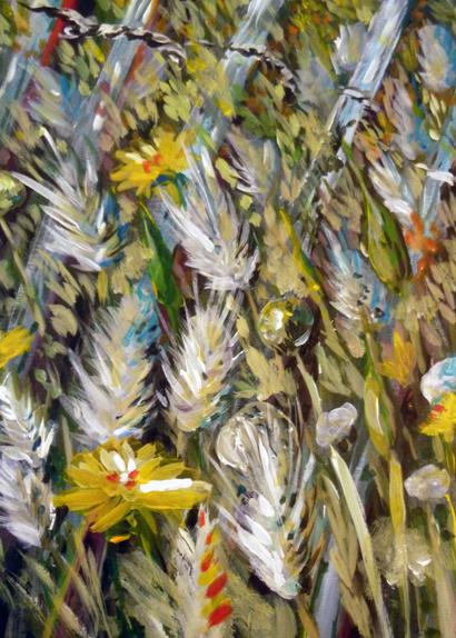 Herbes folles et ganivelles aux Salins de Hyères Hyères, acrylique 2012