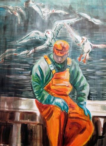 Retour de pêche  et goélands, acrylique de Arlette Béal