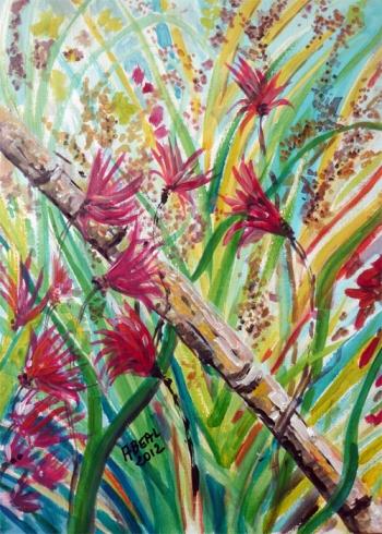 Herbes folles à la canne, acrylique, Arlette Béal
