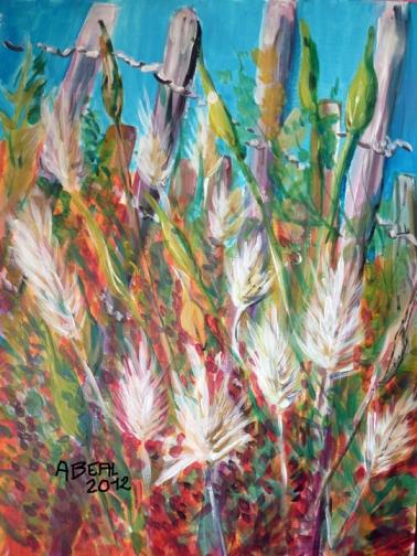 Herbes folles et ganivelles, Salins de Hyères, acrylique de Arlette Béal