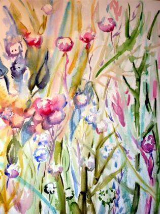 Douces herbes folles, aquarelle, Arlette Béal, tous droits réservés