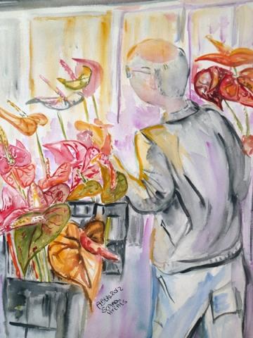 cueillette des anthuriums. SCRADH, Hyères, aquarelle, arlette Béal