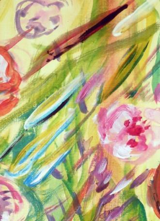 herbes folles aux renoncules, acrylique, Arlette Béal, tous droits réservés