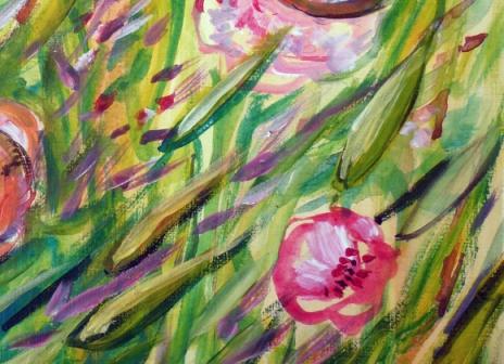 herbes folles aux renoncules b, acrylique, Arlette Béal, Tous droits réservés