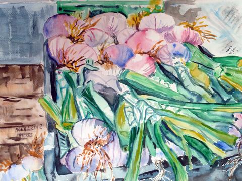 La caisse d'oignons, aquarelle, Arlette Béal, tous droits réservés