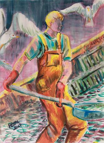 Au matin, le jeune pêcheur, acrylique. Tous droits réservés.