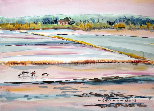 La douceur des Salins de Hyères en hiver, aquarelle. tous droits réservés