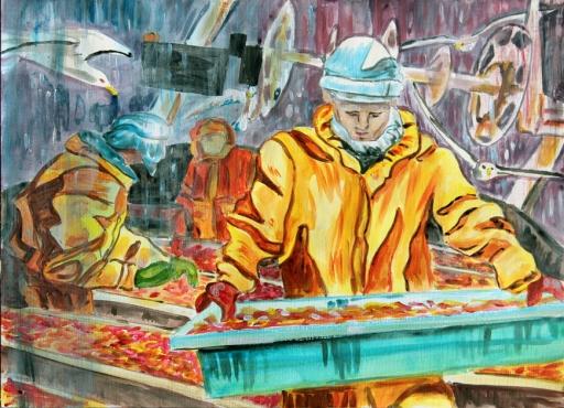 La pêche au crevette. acrylique. Tous droits réservés
