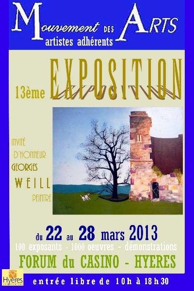 Arlette Béal sera présente à l'exposition  Mouvement des Arts