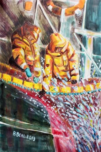 La pêche de nuit de la sardine, acrylique de Arlette Béal. Tous droits réservés.