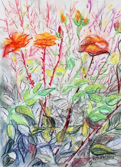 roses  de mon jardin, pastel doux sur papier Ingres. Tous droits réservés. Arlette Béal