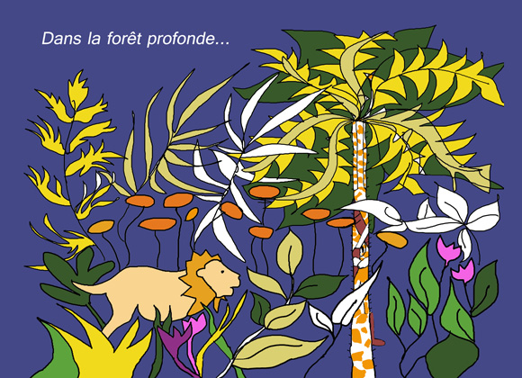 """p1 et 2 de l'album """"Cache-toi, Girafe"""" de Arlette Béal pour les petits. Tous droits réservés."""