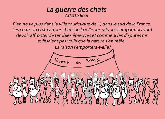 """Quatrième page de couverture de l'album pour enfants """"La guerre des chats"""" de Arlette Béal aux Editions les Presses du Midi."""