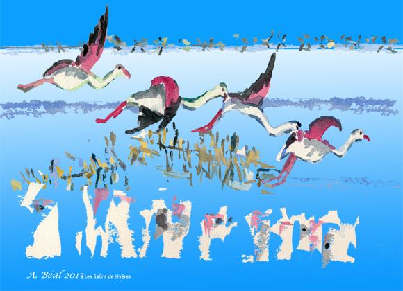 flamants au ciel printanier    aquarelle et numérique  de  Arlette Béal. Tous droits réservés.