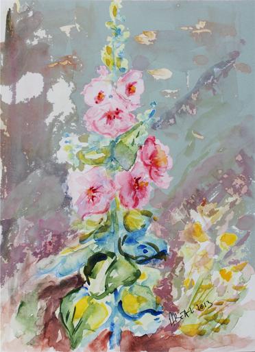 roses trémières aquarelle et numérique. Tous droits réservés