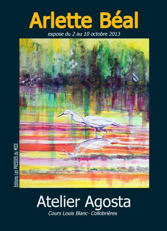 Arlette Béal expose à l'Atelier Agosta à Collobrières du 20 au 10 octobre. Affiche.