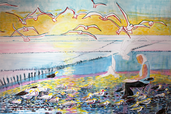 """Ebauche """"Le peintre aux goélands"""" de Arlette Béal. Tous droits réservés. Arlette Béal est auteur, peintre, illustratrice éditée par Les Presses du Midi"""