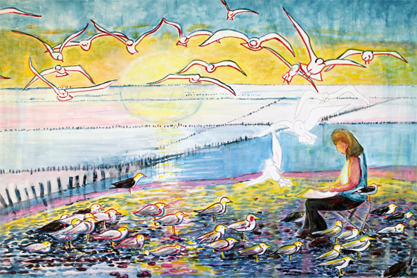 """""""Le peintre aux goélands"""" de Arlette Béal. Tous droits réservés. Arlette Béal est peintre, auteur, illustratrice éditée par Les Presses du Midi"""