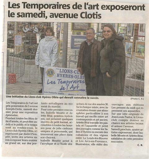 Arlette Béal expose aux Temporaires de l'Art à Hyères