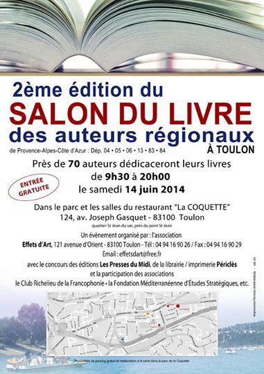 Arlette Béal participera au 2 Salon du livre des auteurs régionaux à Toulon le 14 juin 2014