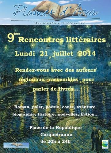 Arlette Béal sera présente  aux 9° rencontres littéraires de Plumes d'Azur  à Carqueiranne 2014