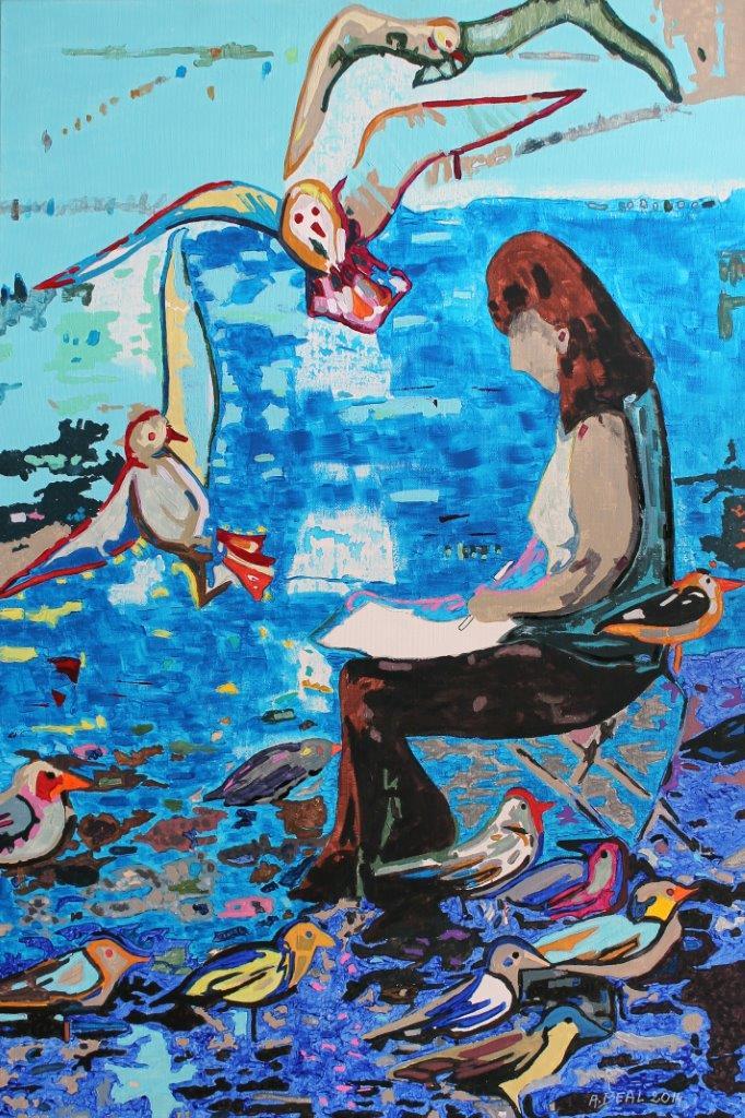 le peintre aux goélands. portrait-Salins de Hyères. Arlette Béal. Tous droits réservés.
