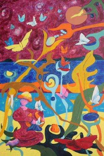 Genèse aux salins de Hyères- les papillons -acrylique sur toile-Tous droits réservés.