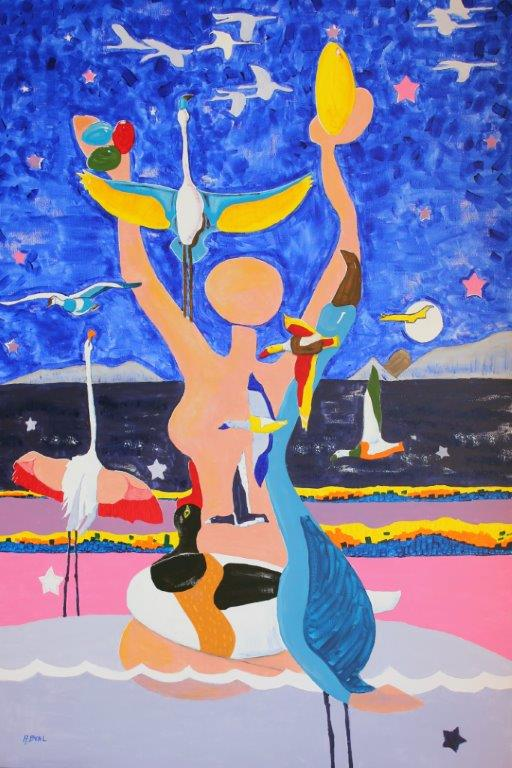 la Déesse Mère des Salins de Hyères- acrylique 162x114-Arlette Béal- Tous droits réservés.
