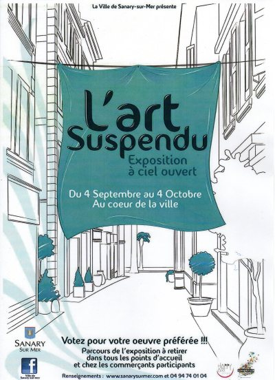 affiche Art Suspendu, Sanary 2015. Participation de Arlette Béal