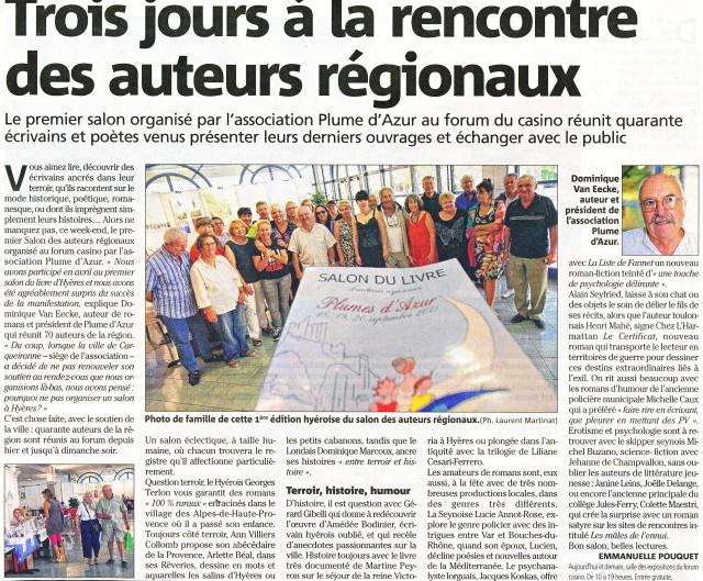"""Le Salon du livre """"Plumes d'azur"""" 2015 à Hyères"""