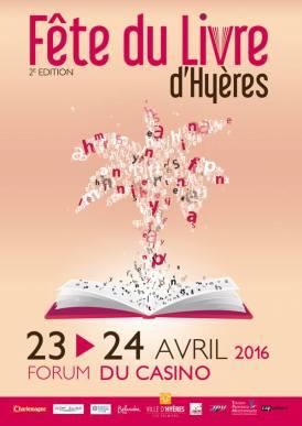 affiche Fête du livre à Hyères du 23,24 avril 2016