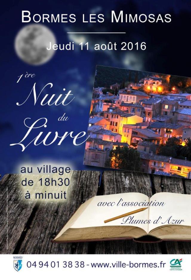 Nuit du livre jeudi 11 août 2016 à Bormes. Affiche. Avec l'Association  Plumes d'Azur.