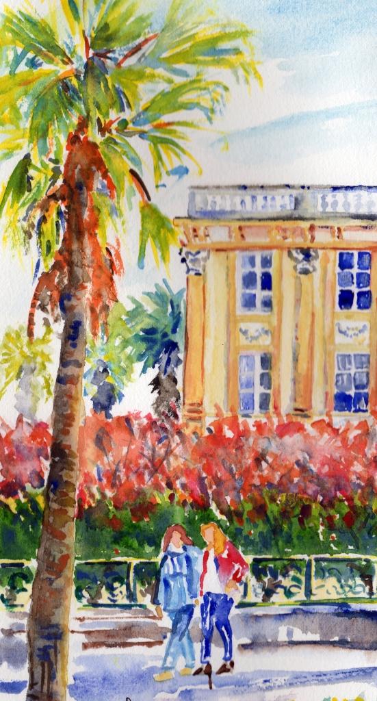 Promenade aux jardins du Park Hôtel à Hyères. Aquarelle. Arlette Béal. Tous droits réservés.